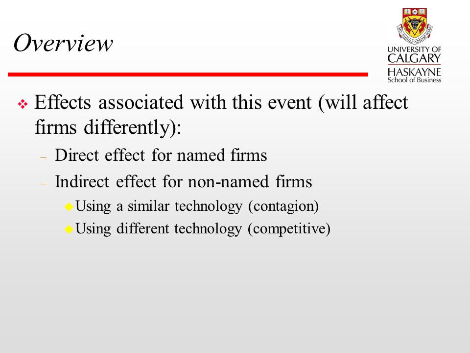 Overview v Effects associated with this event (will affect firms differently): – Direct effect for named firms – Indirect effect for non-named firms u