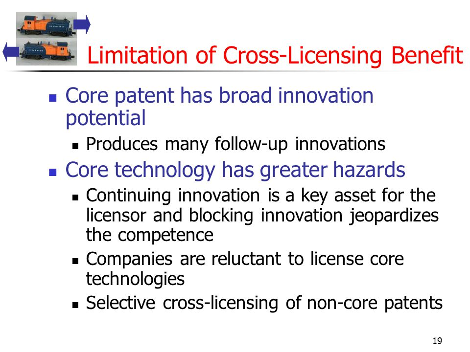 19 Limitation of Cross-Licensing Benefit Core patent has broad innovation potential Produces many follow-up innovations Core technology has greater hazards Continuing innovation is a key asset for the licensor and blocking innovation jeopardizes the competence Companies are reluctant to license core technologies Selective cross-licensing of non-core patents