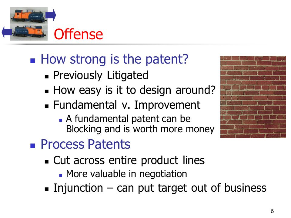 6 Offense How strong is the patent. Previously Litigated How easy is it to design around.