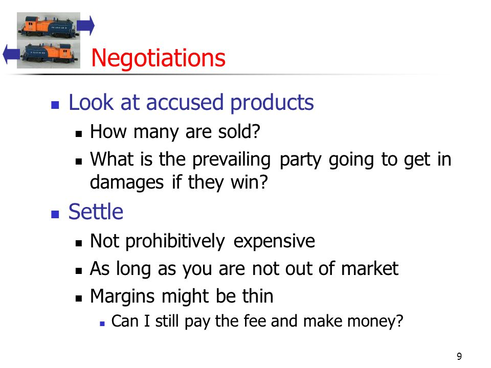 9 Negotiations Look at accused products How many are sold.