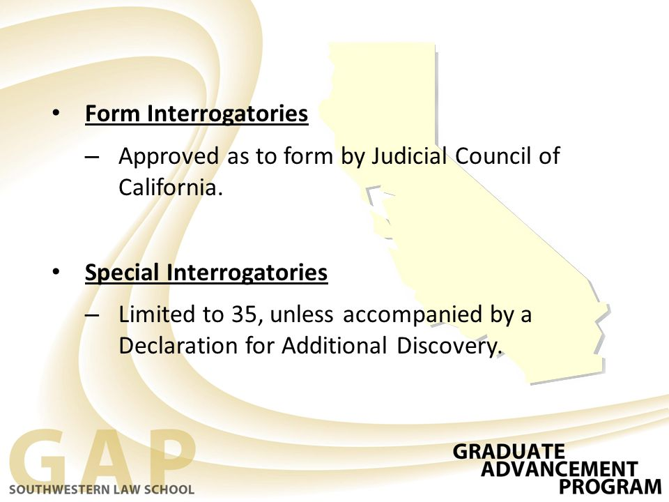Form Interrogatories – Approved as to form by Judicial Council of California.
