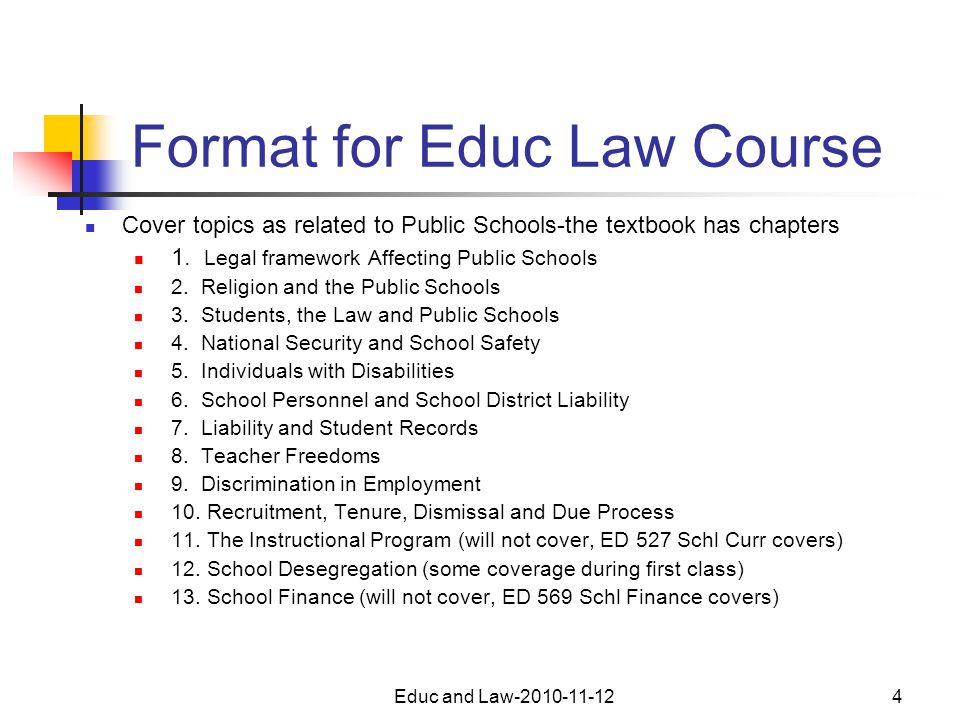 Educ and Law-2010-11-124 Format for Educ Law Course Cover topics as related to Public Schools-the textbook has chapters 1.