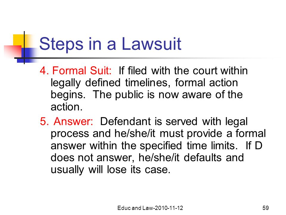 Educ and Law-2010-11-1259 Steps in a Lawsuit 4.
