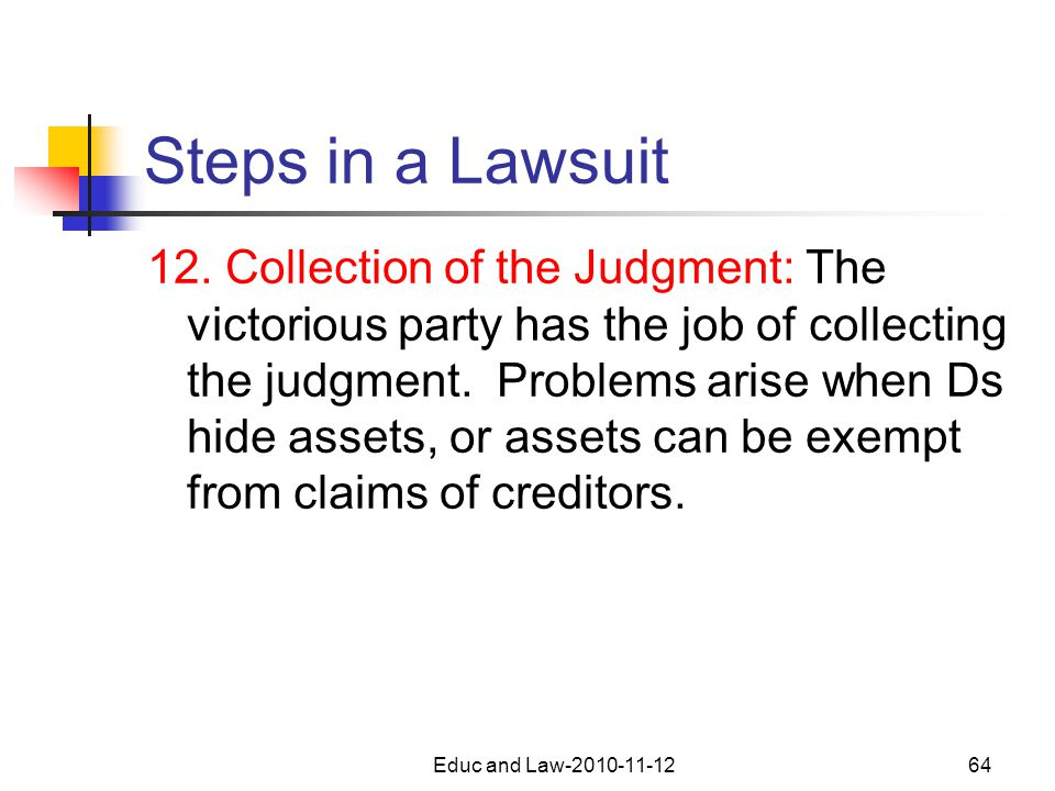 Educ and Law-2010-11-1264 Steps in a Lawsuit 12.