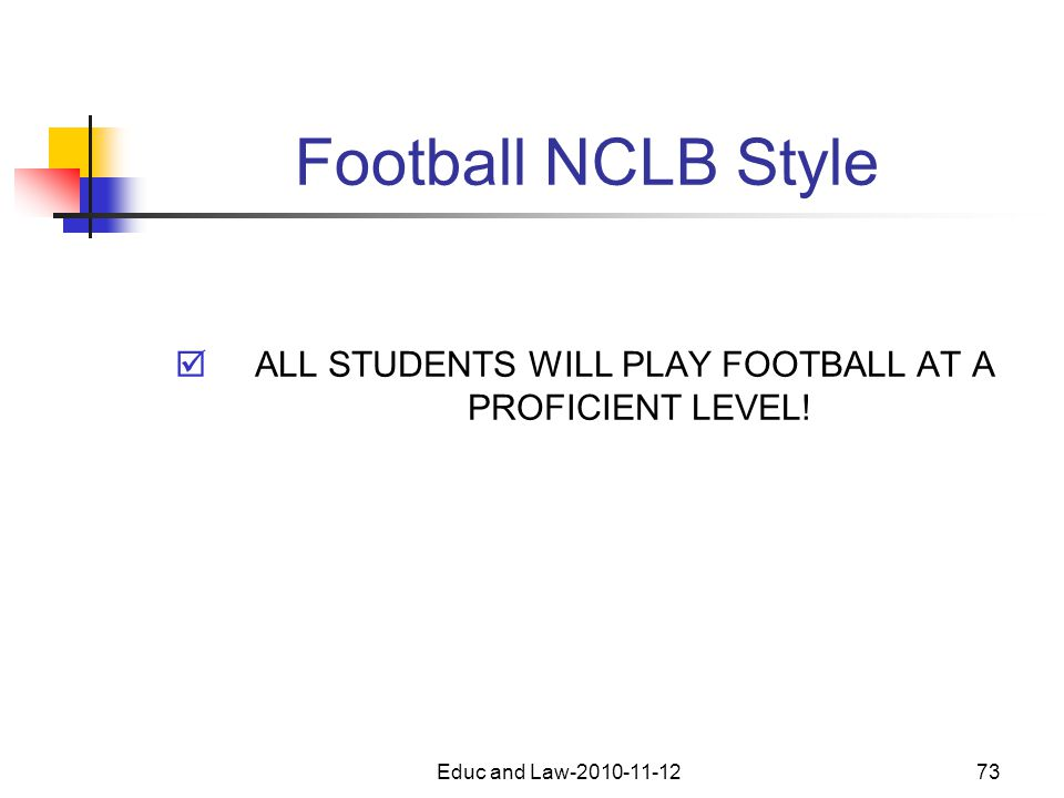 Educ and Law-2010-11-1273 Football NCLB Style  ALL STUDENTS WILL PLAY FOOTBALL AT A PROFICIENT LEVEL!