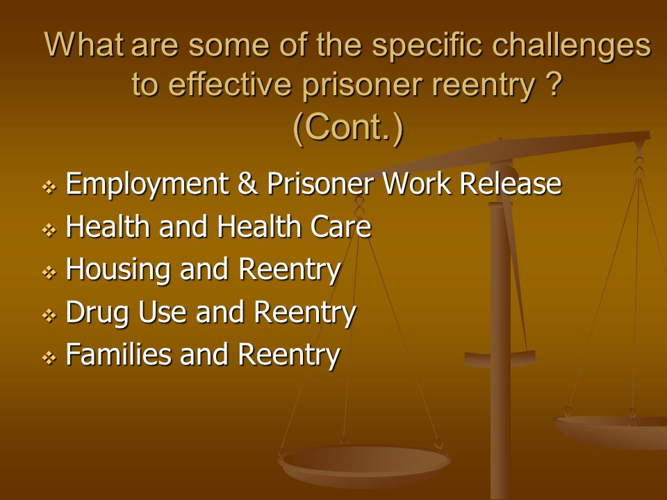 What are some of the specific challenges to effective prisoner reentry ? (Cont.)  Employment & Prisoner Work Release  Health and Health Care  Housi