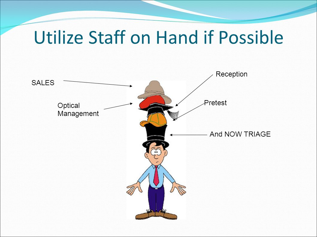 Utilize Staff on Hand if Possible SALES Optical Management Reception Pretest And NOW TRIAGE