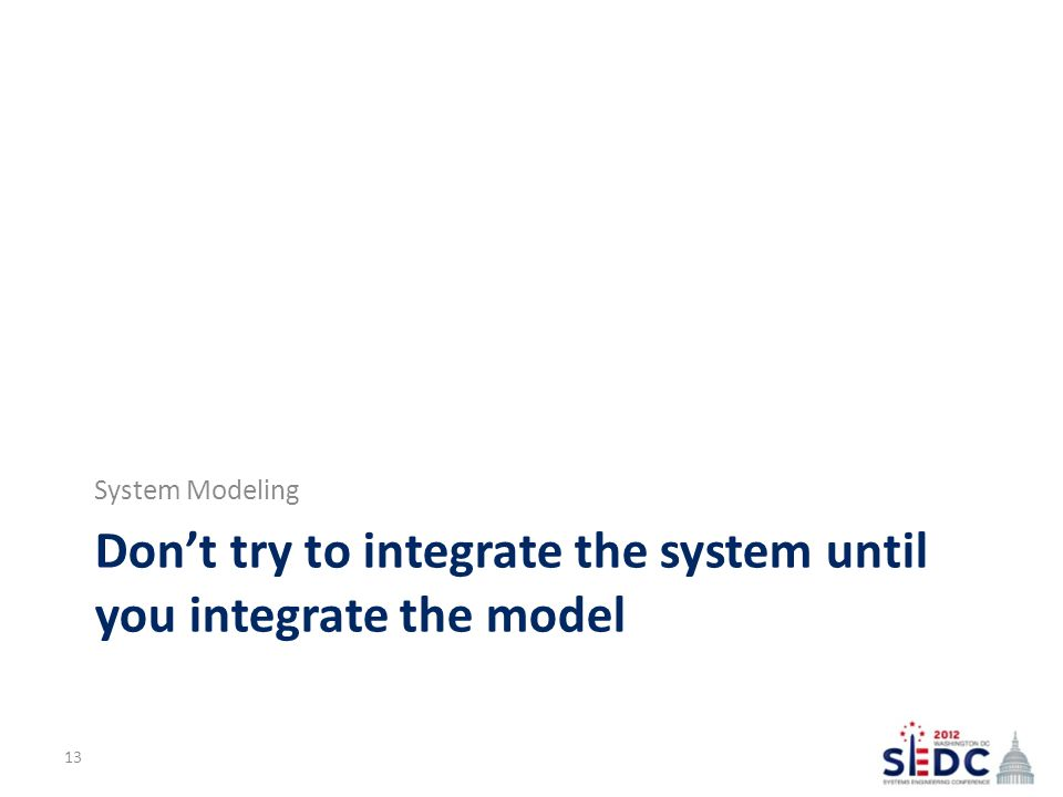 Don't try to integrate the system until you integrate the model System Modeling 13