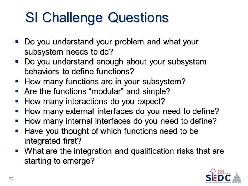 SI Challenge Questions  Do you understand your problem and what your subsystem needs to do.
