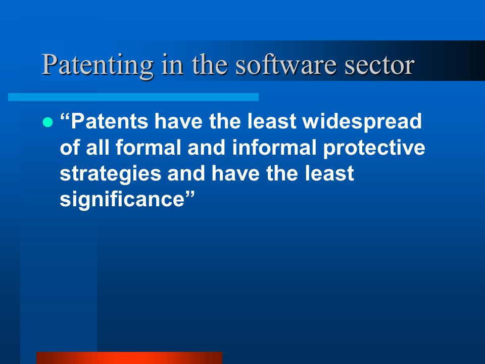 Patents and open source software Software patents can be very damaging to open source software – individual developers are in a similar (but worse) position as SMEs Moreover, with the source code available for anyone to inspect, finding potential infringements to generate frivolous lawsuits is easy