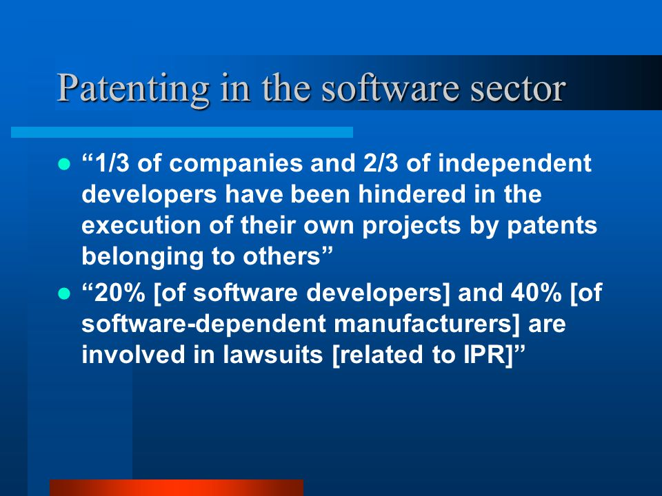 Software patent quality Software claims account for about 25% of US patents granted today However, they account for 40% of submarine patents Issued software patents are typically of very low quality and very poorly referenced to prior art Complexity and speed of development makes it harder for patents to be properly screened, assessment is left to the courts