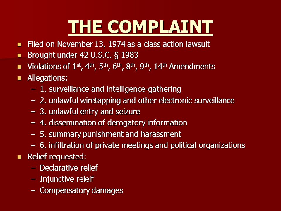 THE COMPLAINT Filed on November 13, 1974 as a class action lawsuit Filed on November 13, 1974 as a class action lawsuit Brought under 42 U.S.C.