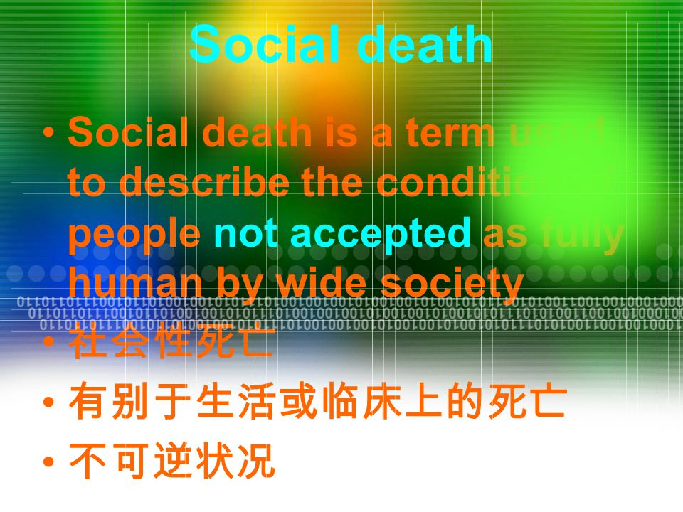 Social death Social death is a term used to describe the condition of people not accepted as fully human by wide society 社会性死亡 有别于生活或临床上的死亡 不可逆状况