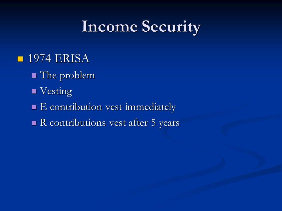 Income Security 1974 ERISA 1974 ERISA The problem The problem Vesting Vesting E contribution vest immediately E contribution vest immediately R contributions vest after 5 years R contributions vest after 5 years