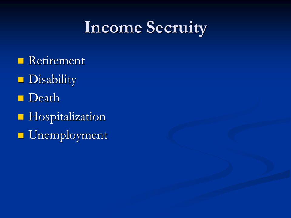 Income Secruity Retirement Retirement Disability Disability Death Death Hospitalization Hospitalization Unemployment Unemployment