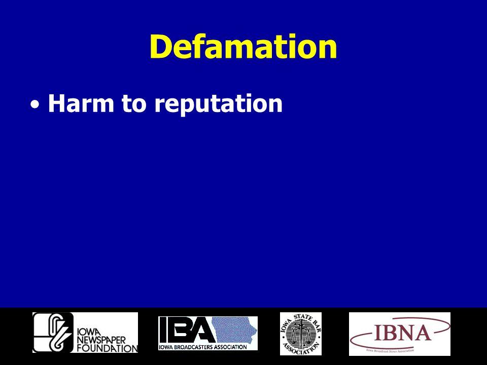 Defamation Harm to reputation