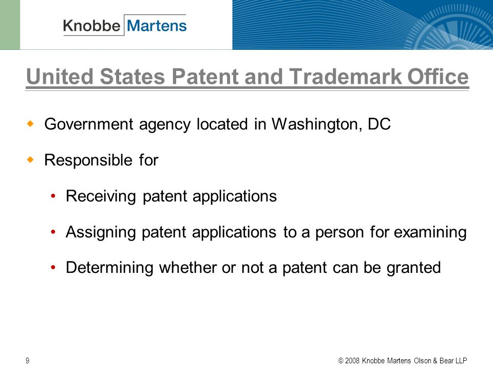© 2008 Knobbe Martens Olson & Bear LLP20 The Path To Becoming A Patent Attorney  Law school: Three years - involves a lot of reading and analyzing Grades/class rankings are very important in job placement However, because only students with engineering or science backgrounds can enter patent law, there is less competition in patent law than other areas