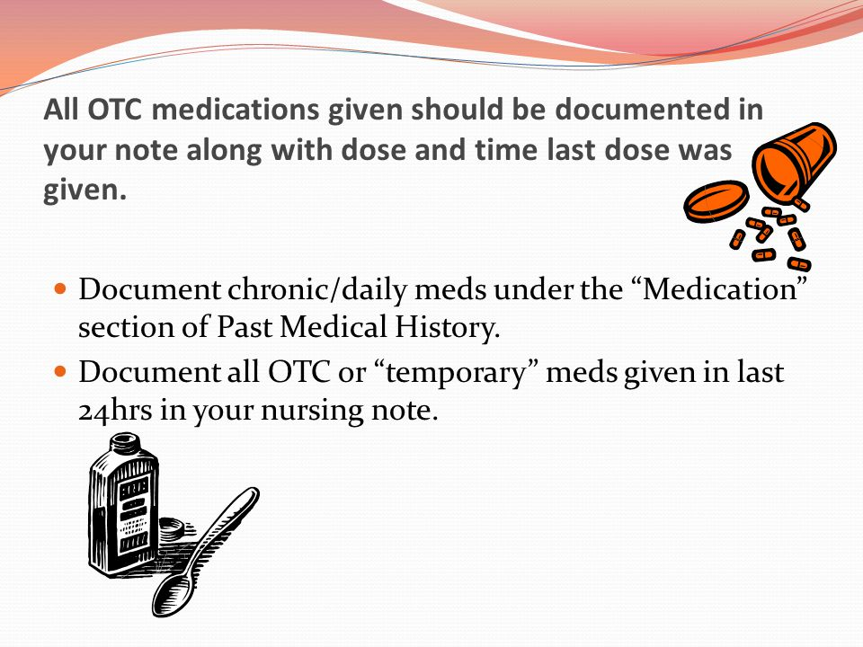 All OTC medications given should be documented in your note along with dose and time last dose was given.