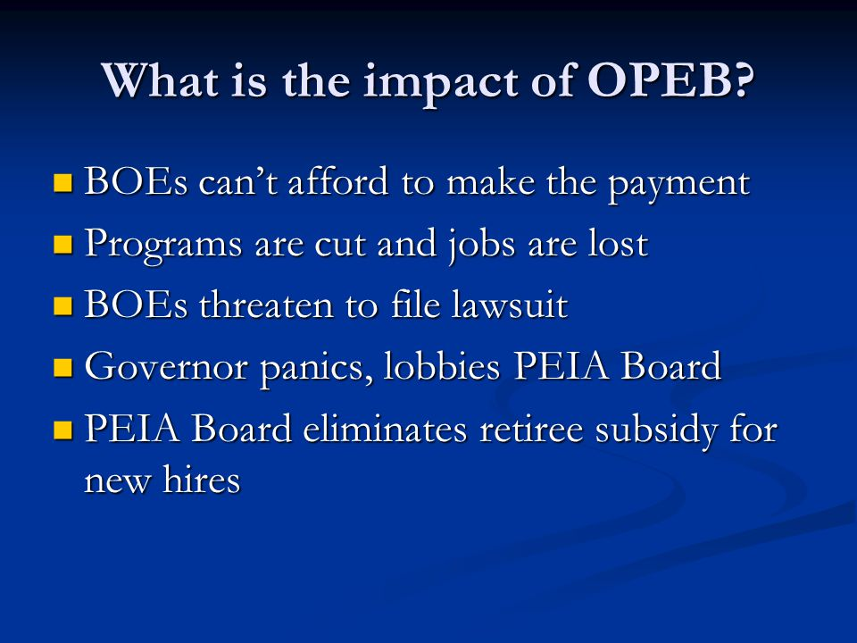 What is the impact of OPEB.