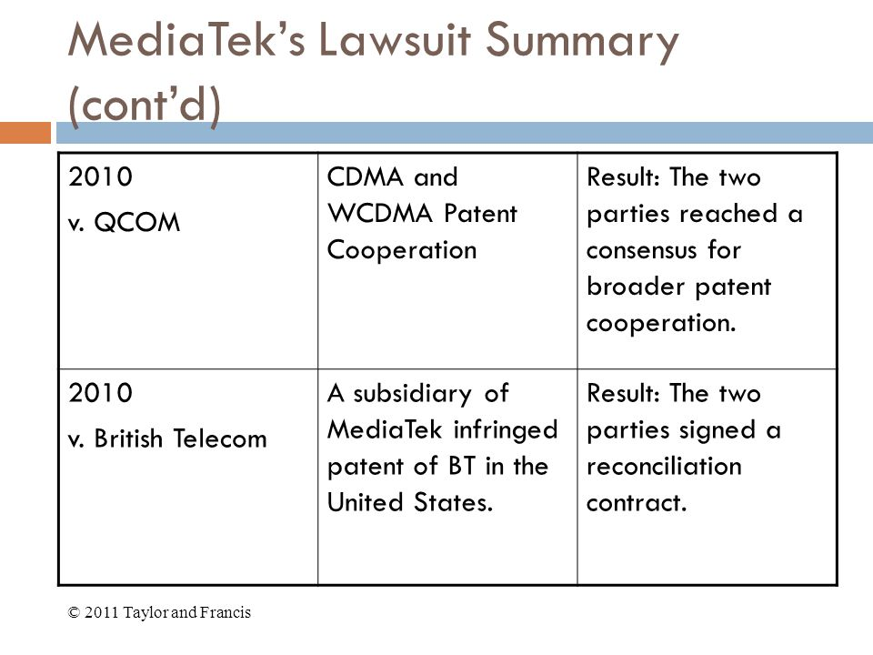 MediaTek's Lawsuit Summary (cont'd) 2010 v.