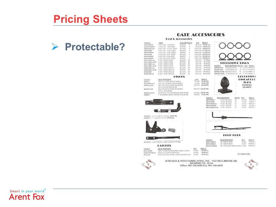 Pricing Sheets  Protectable