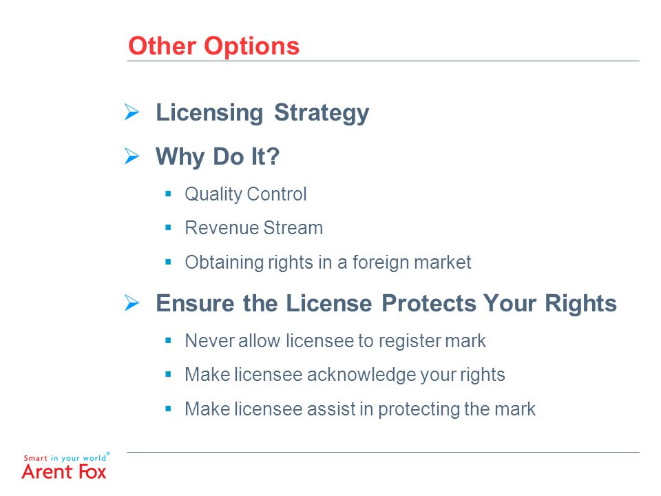 Other Options  Licensing Strategy  Why Do It.