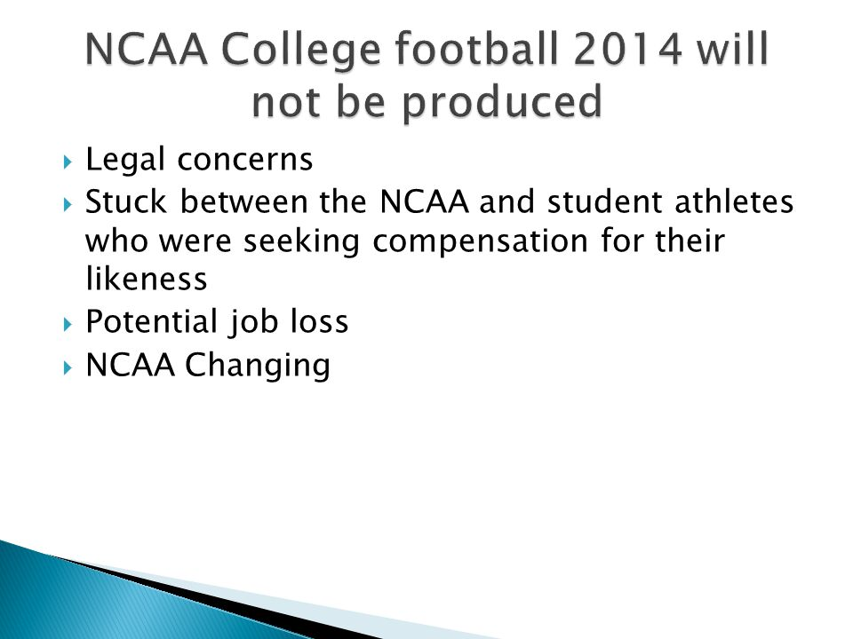  Legal concerns  Stuck between the NCAA and student athletes who were seeking compensation for their likeness  Potential job loss  NCAA Changing