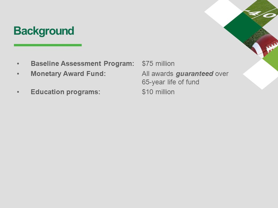 Background Baseline Assessment Program: $75 million Monetary Award Fund: All awards guaranteed over 65-year life of fund Education programs: $10 million