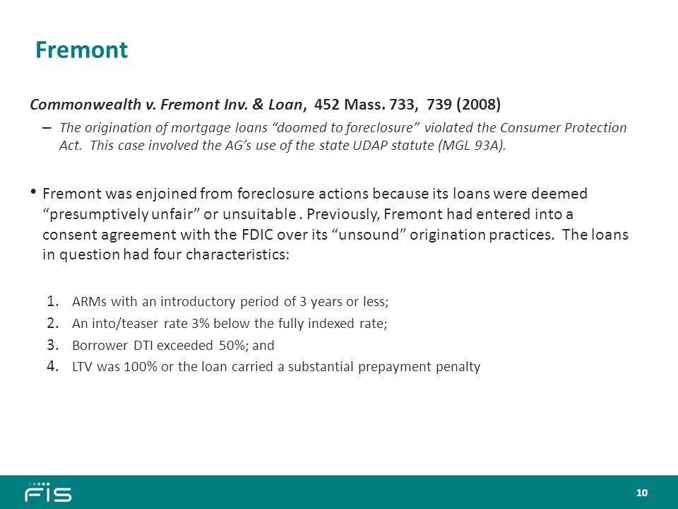 Fremont Commonwealth v. Fremont Inv. & Loan, 452 Mass.