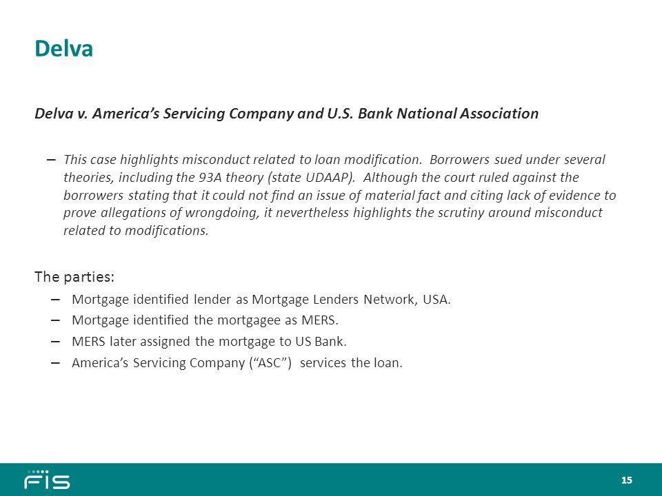 Delva Delva v. America's Servicing Company and U.S.
