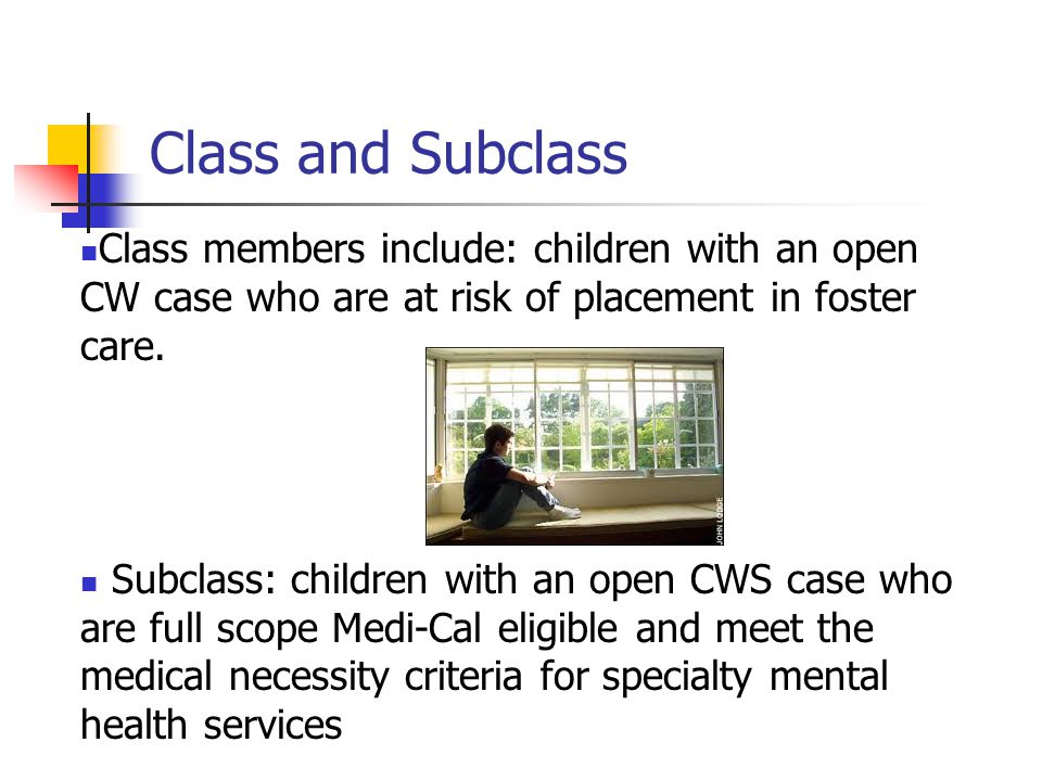 Class and Subclass Class members include: children with an open CW case who are at risk of placement in foster care. Subclass: children with an open C