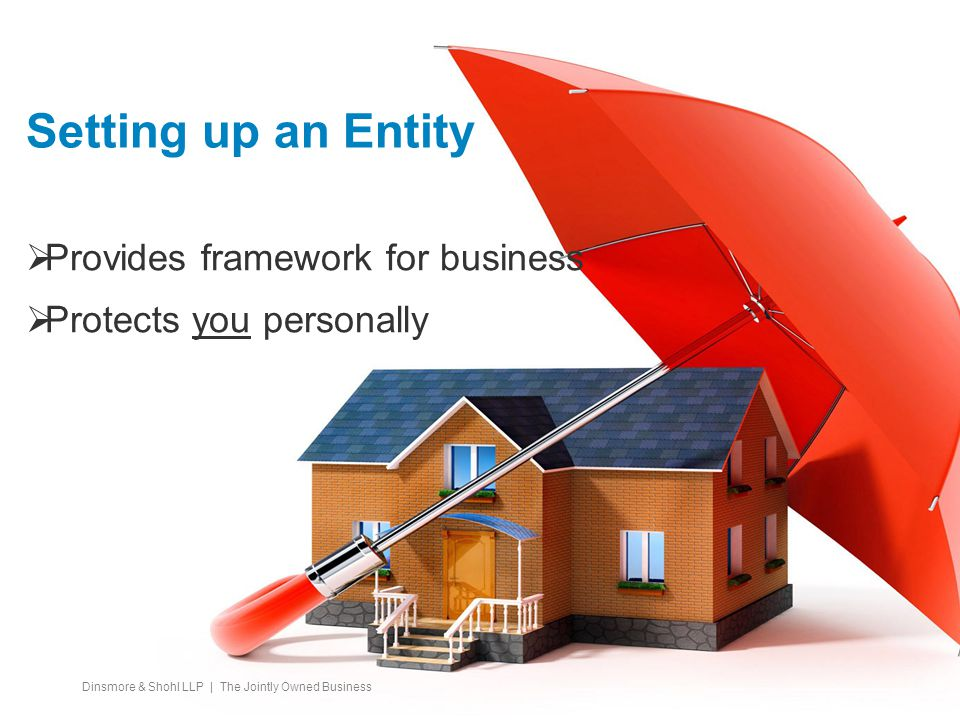 Setting up an Entity  Provides framework for business  Protects you personally Dinsmore & Shohl LLP | The Jointly Owned Business