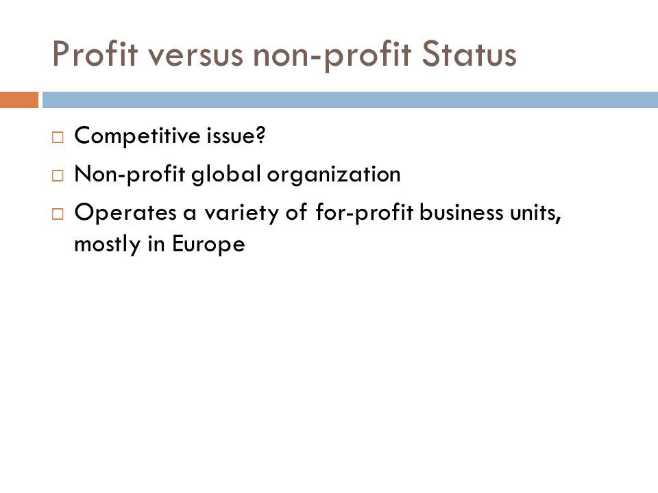 Profit versus non-profit Status  Competitive issue.