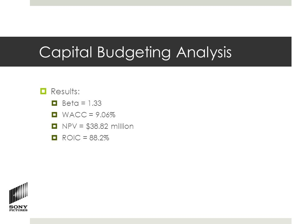 Capital Budgeting Analysis  Results:  Beta = 1.33  WACC = 9.06%  NPV = $38.82 million  ROIC = 88.2%