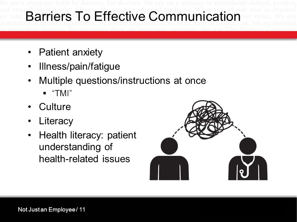 Barriers To Effective Communication Patient anxiety Illness/pain/fatigue Multiple questions/instructions at once  TMI Culture Literacy Health literacy: patient understanding of health-related issues Not Just an Employee / 11