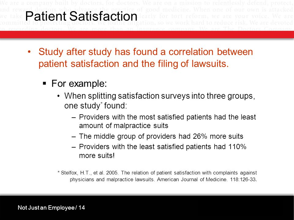 Patient Satisfaction Study after study has found a correlation between patient satisfaction and the filing of lawsuits.