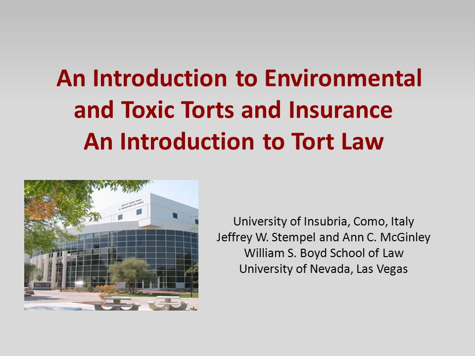 An Introduction to Environmental and Toxic Torts and Insurance An Introduction to Tort Law University of Insubria, Como, Italy Jeffrey W. Stempel and