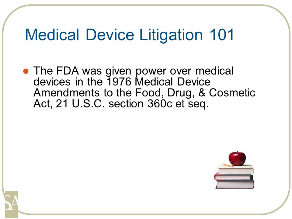 Devices are categorized into three classes based upon the amount of risk involved in the use of that device Class I Devices that do not require premarket approval or clearance but must follow general controls dental floss, sponges Class II Devices that are cleared using the 510(k) process catheters, hearing aids Class III Devices that are approved by the Premarket Approval (PMA) process artificial heart Spinal Device Examples Most Pedicle Screws = Class II Artificial disk replacement devices, prosthetic nuclear replacements, and recombinant bone morphogenetic proteins = Class III
