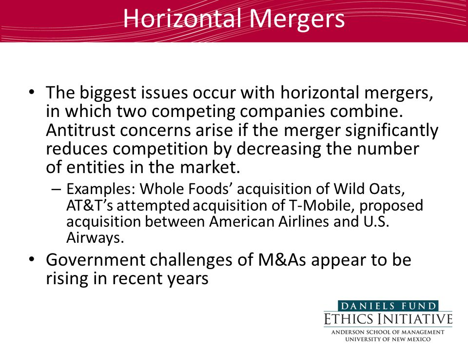 Horizontal Mergers The biggest issues occur with horizontal mergers, in which two competing companies combine.