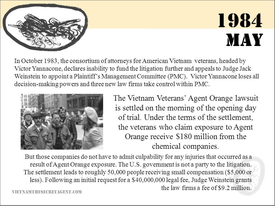 In October 1983, the consortium of attorneys for American Vietnam veterans, headed by Victor Yannacone, declares inability to fund the litigation further and appeals to Judge Jack Weinstein to appoint a Plaintiff's Management Committee (PMC).
