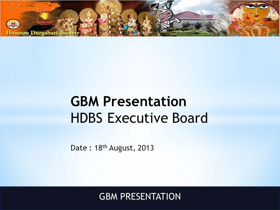 GBM PRESENTATION GBM Presentation HDBS Executive Board Date : 18 th August, 2013