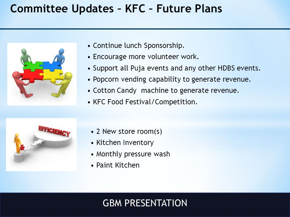 GBM PRESENTATION Committee Updates – KFC – Future Plans Continue lunch Sponsorship.