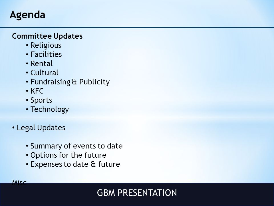 GBM PRESENTATION Legal Cost Original Lawsuit (Cause # 2012-27959) – attorney costs for HDBS intervention : 15K (private donors) Independent Legal analysis regarding mandatory indemnification law : 6K Current Lawsuit (Cause # 2013-14667) – attorney costs to obtain Declarative Judgment on mandatory indemnification (including the Bhaskar Roy lawsuit) This cost is non-discretionary expense.