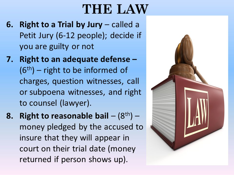 THE LAW 5 Responsibilities of all Americans in the US legal system: 1.Must serve on juries 2.Must testify in court 3.Must obey the law 4.Must cooperate with law enforcement officers 5.Must work to end unfair and ineffective laws