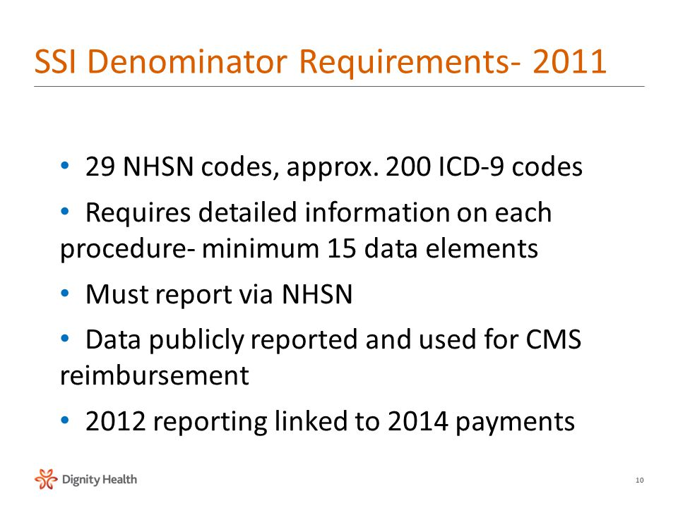 10 29 NHSN codes, approx. 200 ICD-9 codes Requires detailed information on each procedure- minimum 15 data elements Must report via NHSN Data publicly