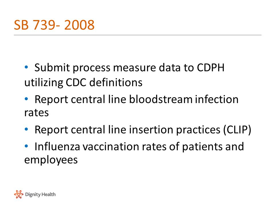 Submit process measure data to CDPH utilizing CDC definitions Report central line bloodstream infection rates Report central line insertion practices (CLIP) Influenza vaccination rates of patients and employees SB 739- 2008