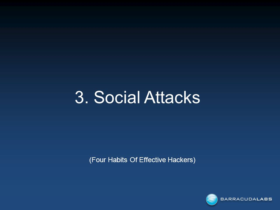 3. Social Attacks (Four Habits Of Effective Hackers)