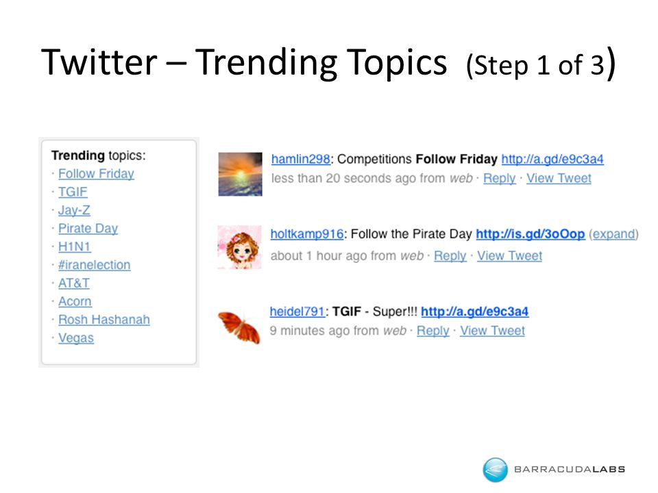 Twitter – Trending Topics (Step 1 of 3 )