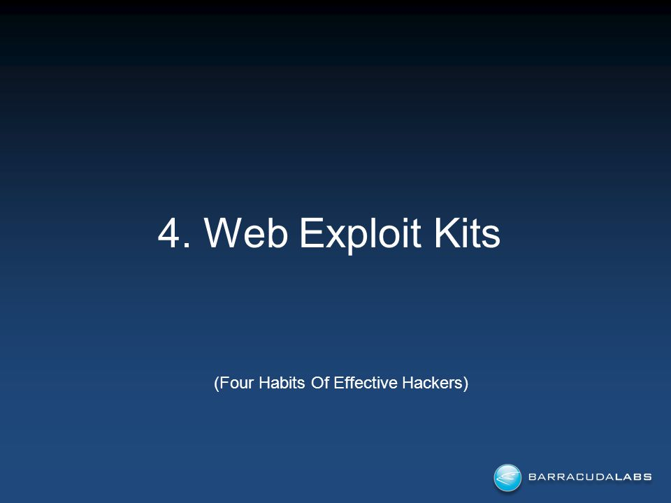 4. Web Exploit Kits (Four Habits Of Effective Hackers)