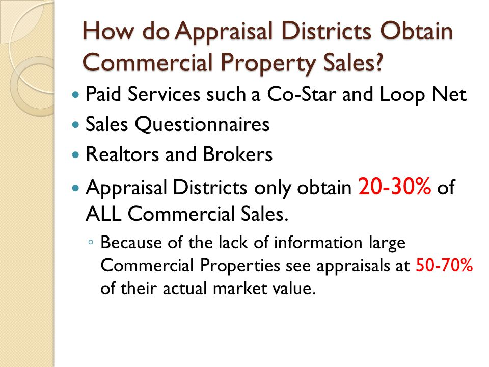 How do Appraisal Districts Obtain Commercial Property Sales.